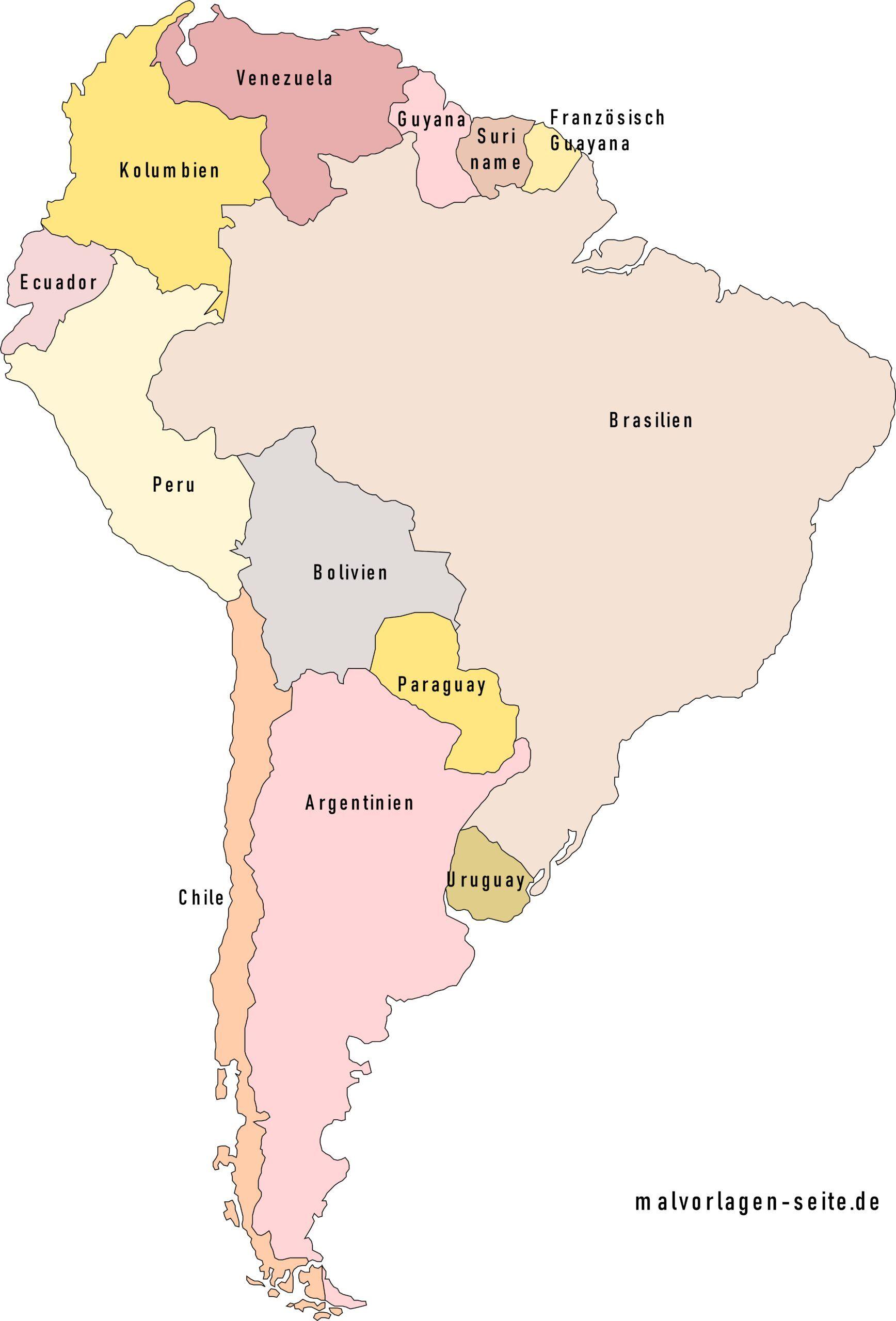Lander In Sudamerika Und Hauptstadte Als Liste Und Auf Einer Landkarte