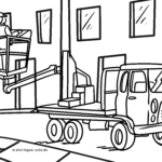 Coloring page truck lifting platform