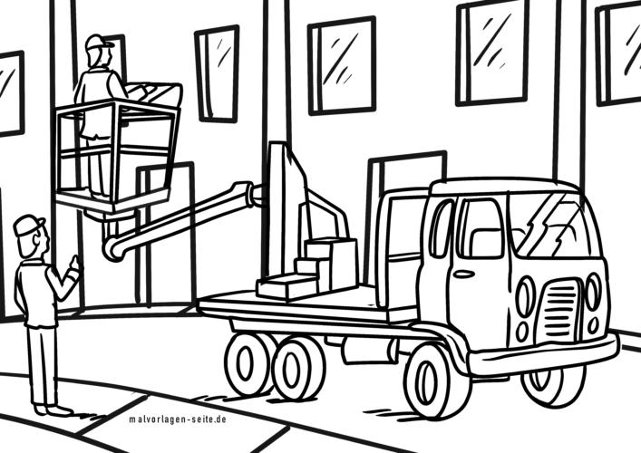 Coloring page truck lifting platform lifting platform