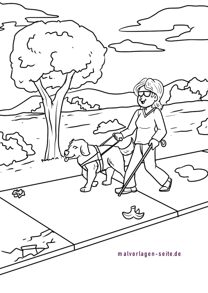 Coloring page guide dog / guide dog