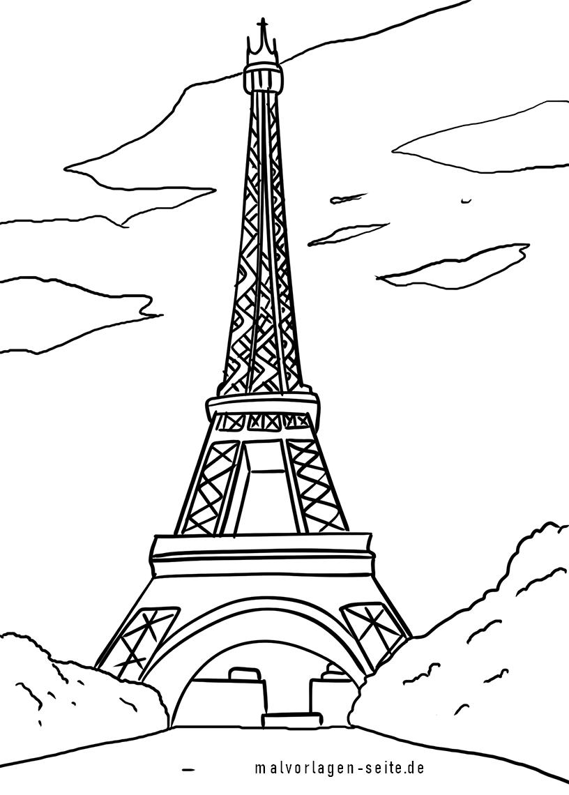 Malvorlage Eiffelturm Paris  Sehenswürdigkeiten - Kostenlose