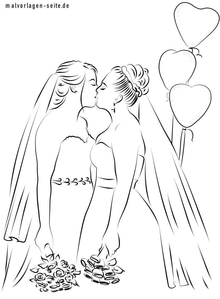 Malvorlage lesbische Hochzeit