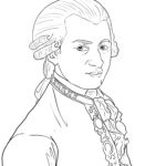 Coloring page Wolfgang Amadeus Mozart | Personalities