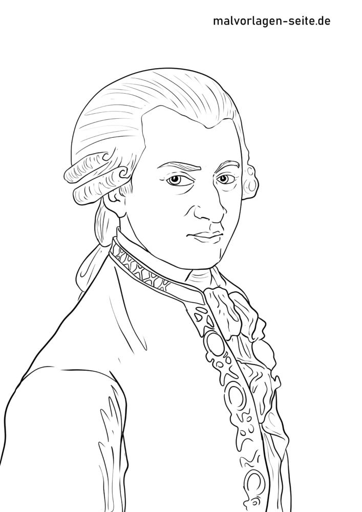 Pagină de colorat Wolfgang Amadeus Mozart