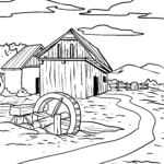 Coloring page mill wheel