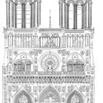 Notre Dame Paris template for coloring