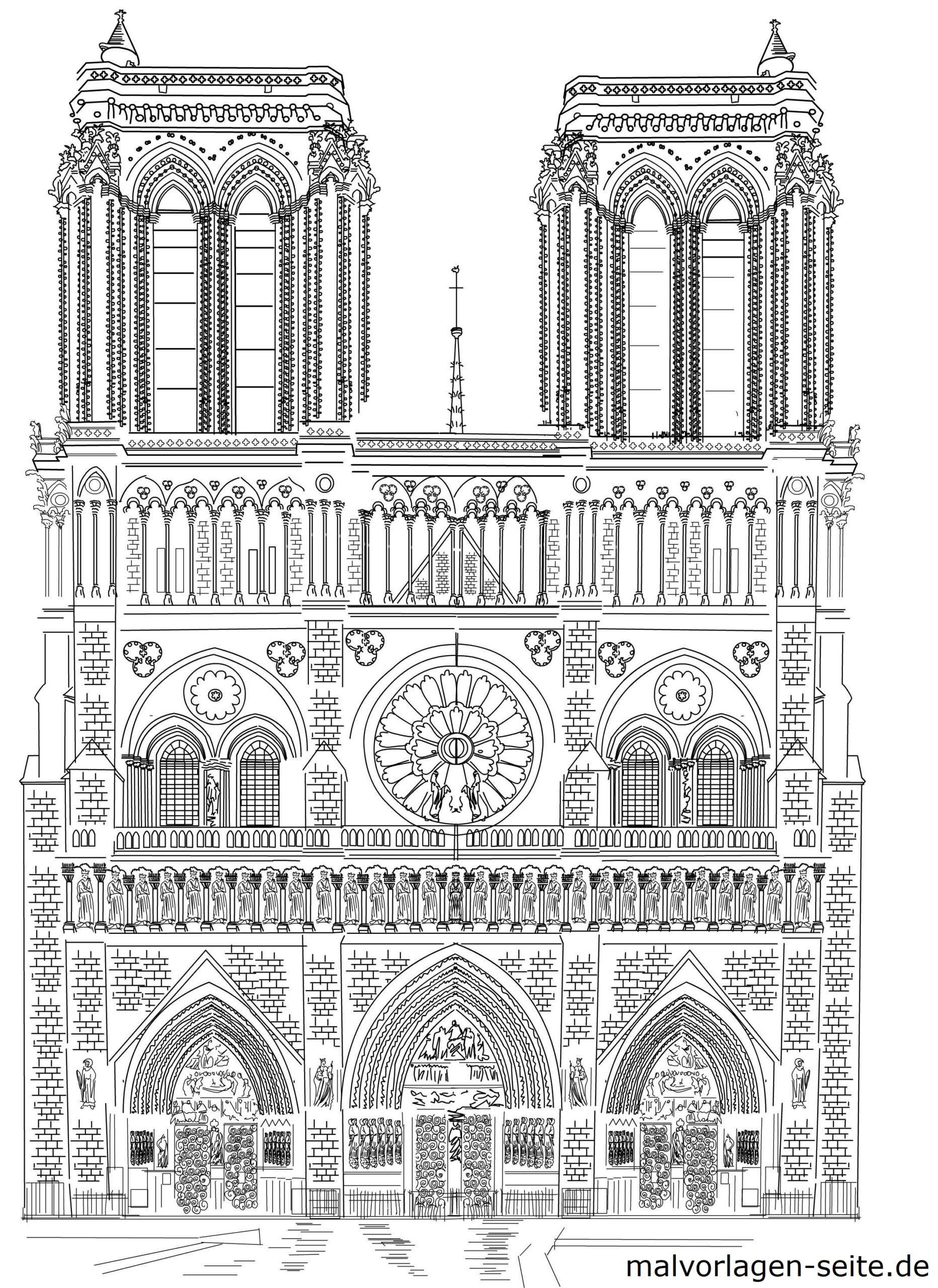 Vorlage Notre Dame Paris zum Ausmalen