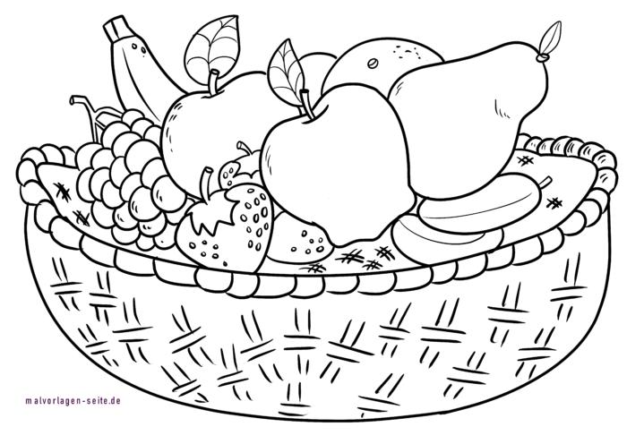 Malvorlage Obstkorb Obst Essen Kostenlose Ausmalbilder