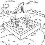 Coloring page playing in the sandpit