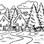 Coloring page winter landscape