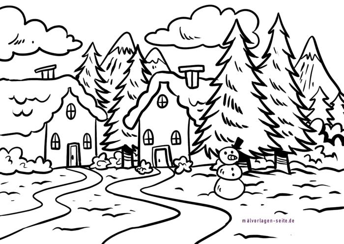 winterlandschaft basteln fensterbilder winter vorlagen zum