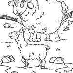 Coloring page sheep with lamb | Farm animals