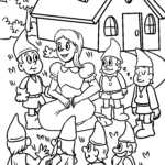 Coloring page Snow White and the seven dwarfs