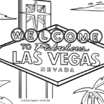 Coloring page Las Vegas sign | Attractions