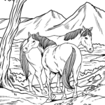 Coloring page wild horses | Horses