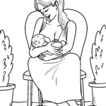 Coloring page mother breastfeeds baby