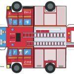 Modèle de feuille de découpe de camion de pompiers - découper, coller, terminé