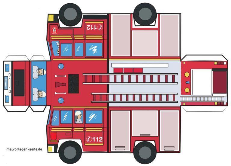 Feuerwehrauto Bastelbogen