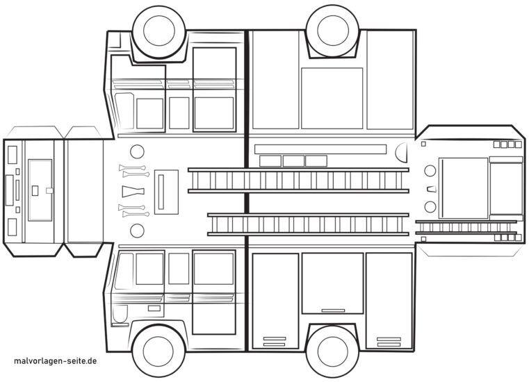 Feuerwehrauto Bastelvorlage