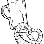 Coloring page beer and pretzel
