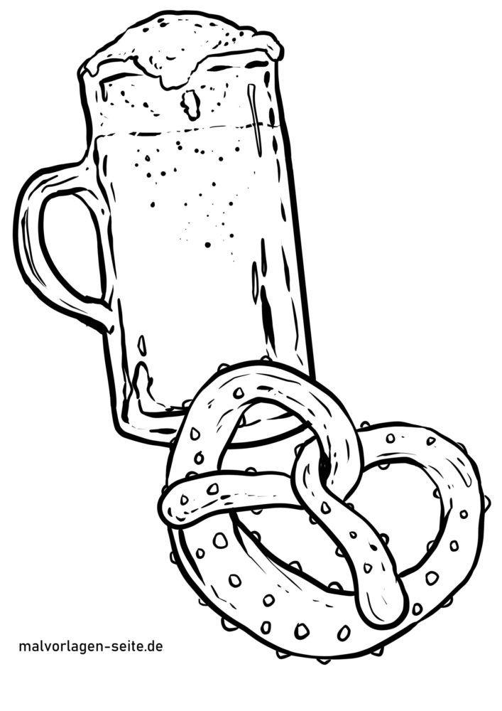 Malvorlage Bier und Brezel