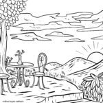 Coloring page beer garden / garden bar