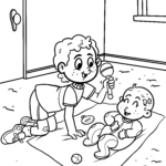 Coloring page brother with baby