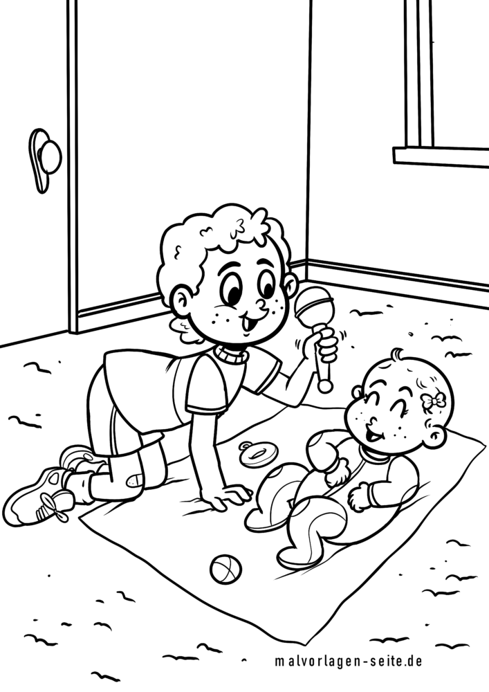 Coloring page boy with baby