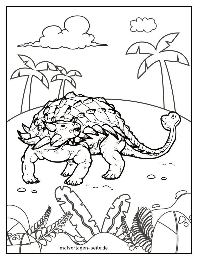 Coloring page ankylosaurus dinosaur