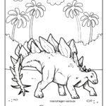 Värityskuva stegosaurus dinosaurus