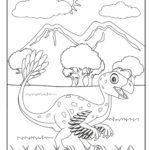Tegninger til farvelægning unge dinosaurer