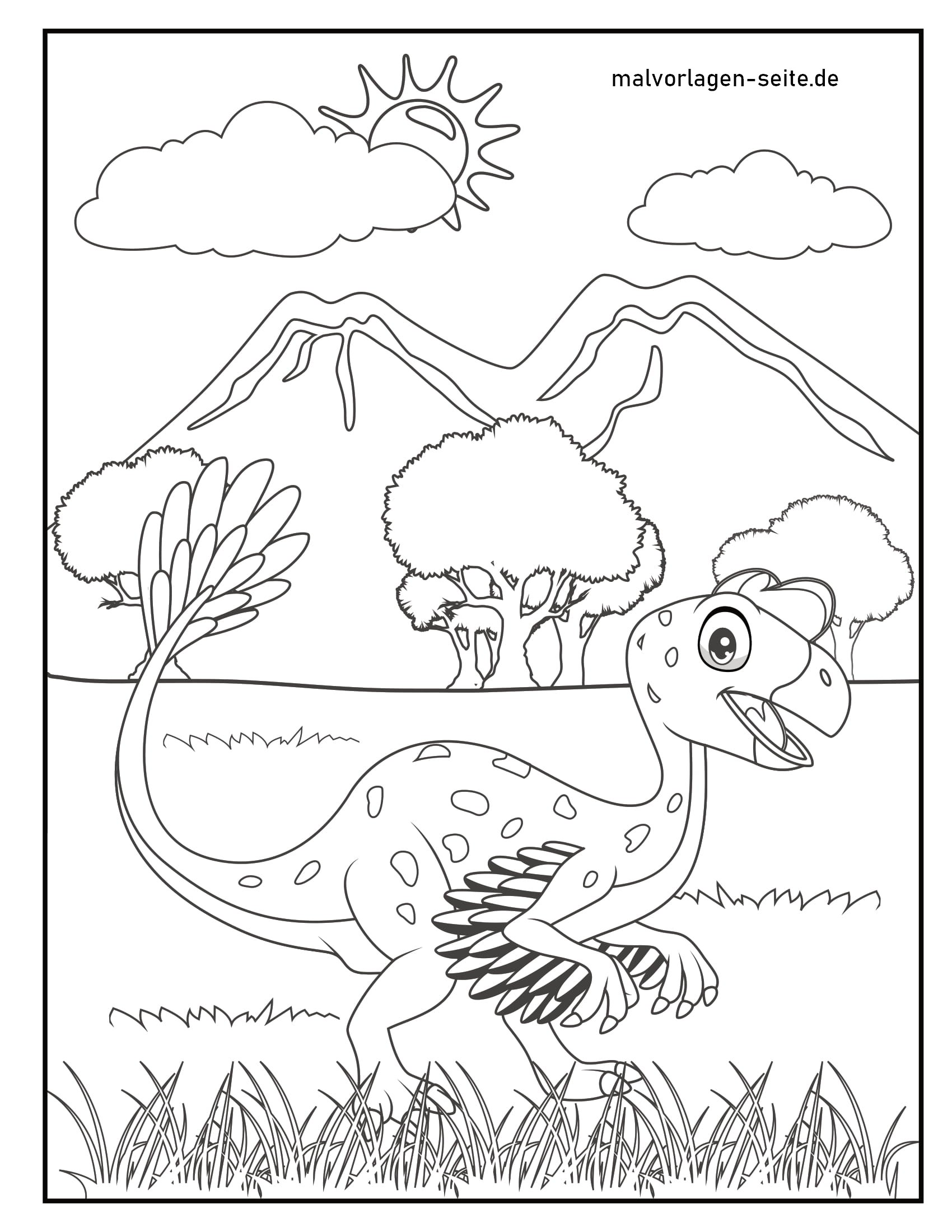 Coloring page young dinosaurs
