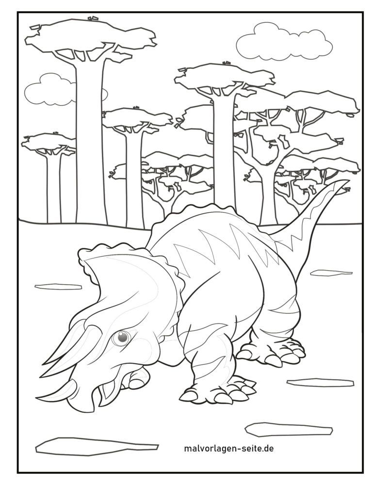 Coloring page triceratops
