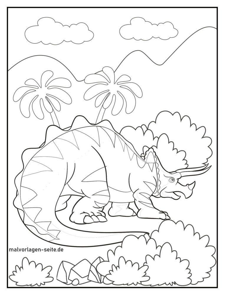 Kleurplaat triceratops
