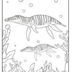 Coloring page dinosaurs in the sea