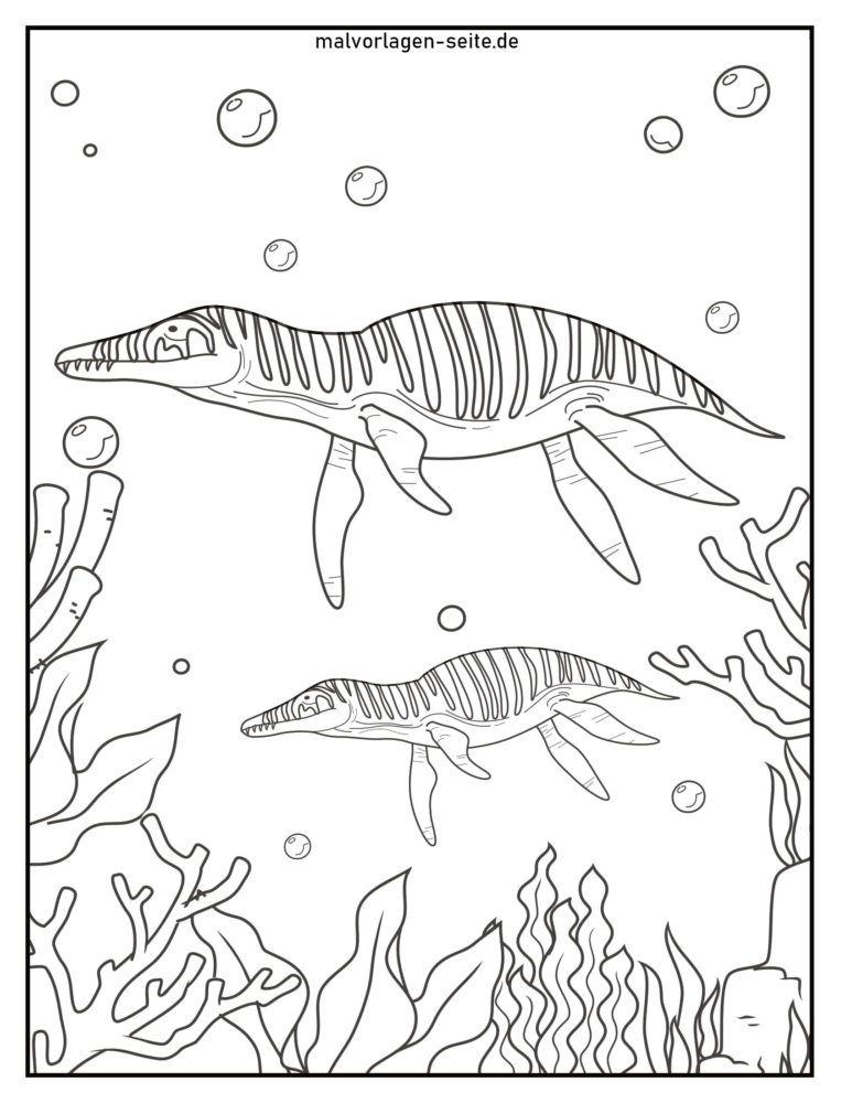 Coloriage Dinosaures Dans La Mer Coloriages Gratuits