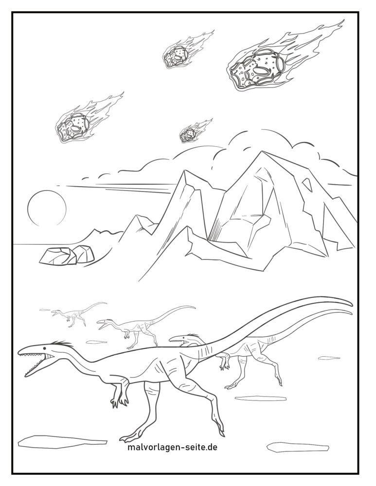 Coloring page dinosaur extinction meteorites