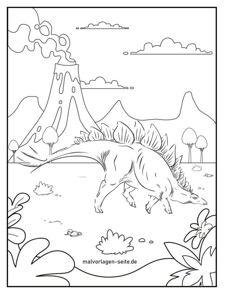 Bojanje stranice stegosaurus dinosaur