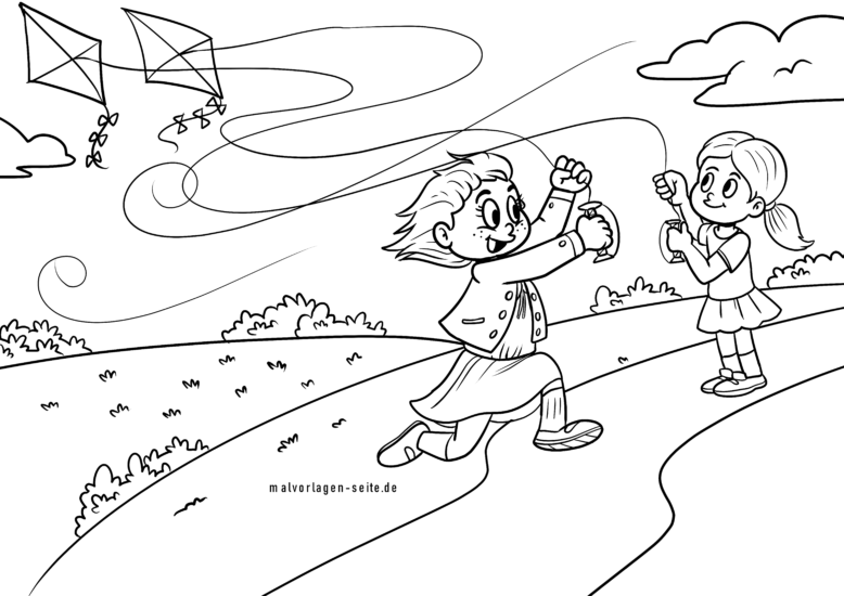Coloring page to fly a kite