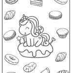 Coloring page unicorn with sweet pastries