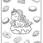 Malvorlage Einhorn mit Süßgebäck
