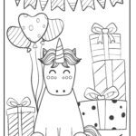 Coloring page unicorn with gifts