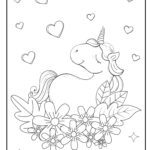 Coloring page unicorn with hearts