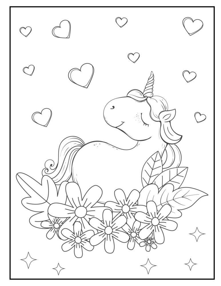 Pagină de colorat unicorn cu inimi