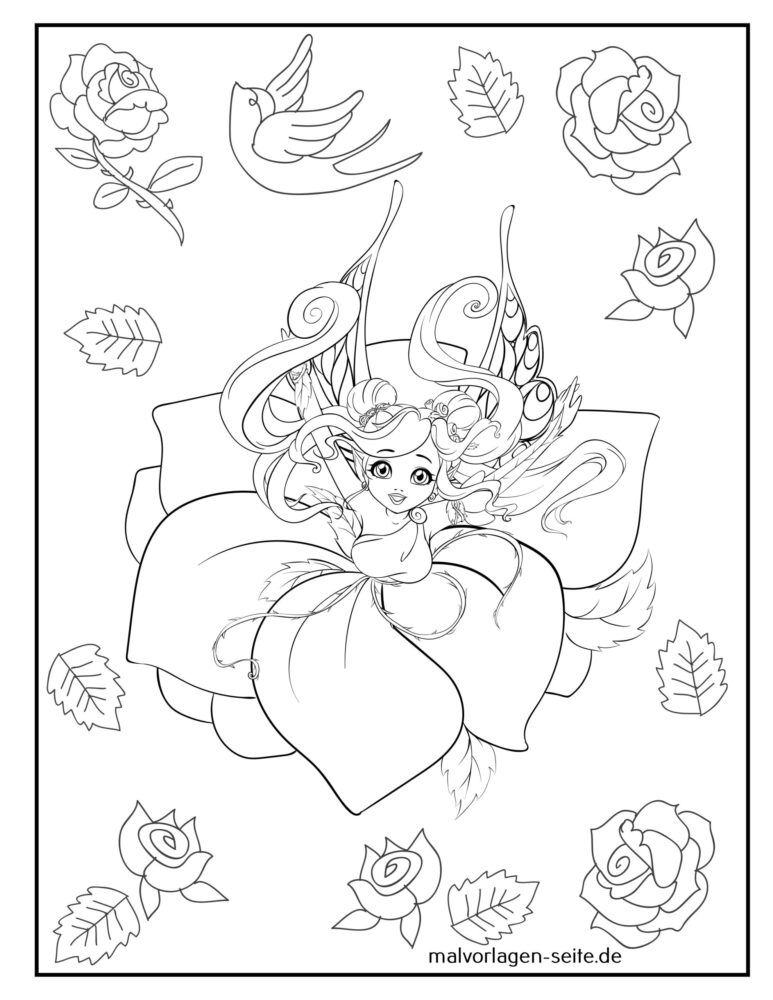 Coloring page fairy / elf with roses