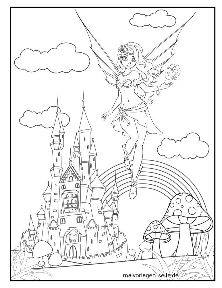 Coloring page fairy / elf