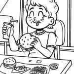Dibujo para colorear comer comida rápida
