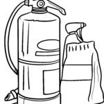 Coloring page fire extinguisher