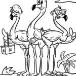 Coloriage flamants roses