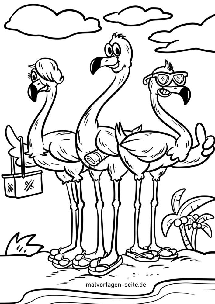 Coloring page flamingos